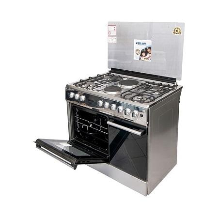 Bruhm BGC 9642NGX - 90cm x 60cm - Free Standing Gas Cooker - INOX