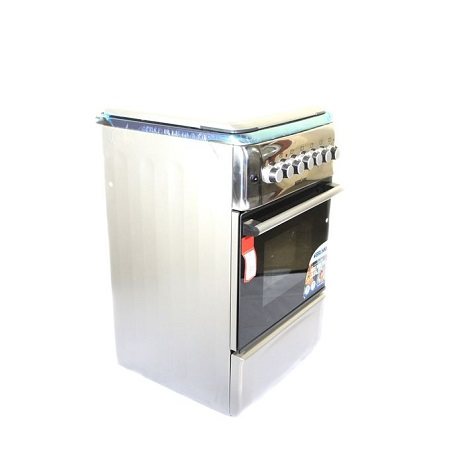Bruhm BGI-55M31ORSN, 3 Gas + 1 Hotplate, Gas Cooker, Free Standing - Front Shiny Inox