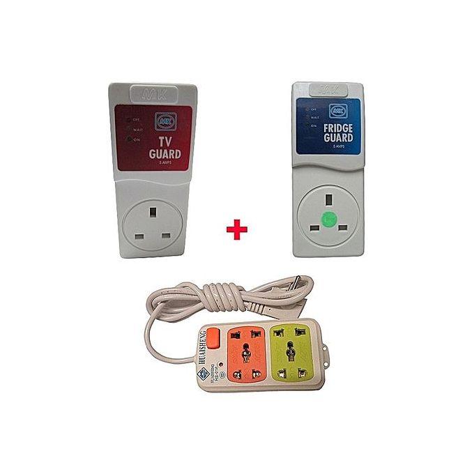 MK Electronics TV Guard + Fridge Guard + 2-Way Extension Cable - White