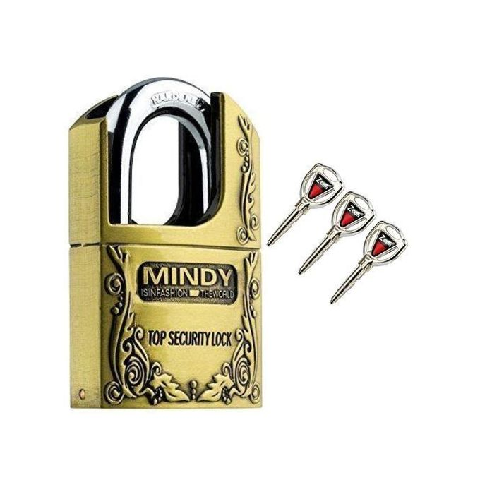 Mindy Secure Mindy Padlock Size - Large 70mm- Goldish Brown- Made of Steel