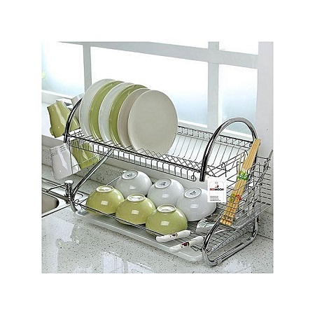 Dish Rack 2 Tier, Modern Design Stainless Steel, INCLUDES Cutlery Holder and Drain Board For Quick Utensils Drying