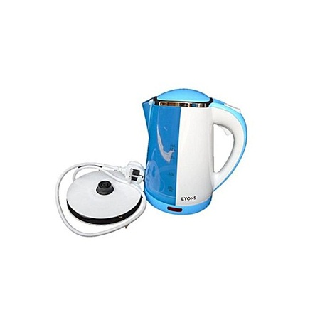 Lyons FK-802- Electric Kettle, Plastic, 1.7L, Cordless, White & BLUE