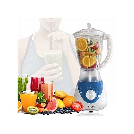 Lyons 2 in 1 Blender with Grinding Machine 1.5L - White & Blue