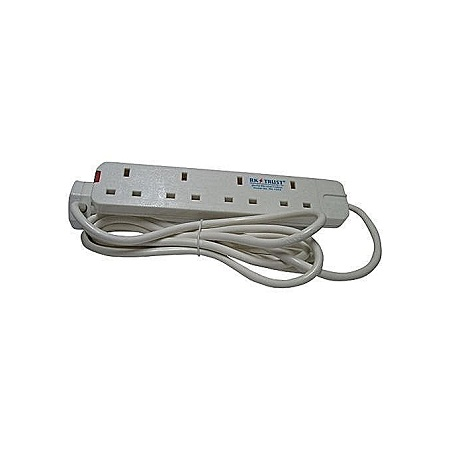 Heavy Duty 4 outlet extension cable 4 way - White