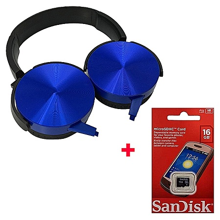 Extra Bass Headphones Headsets With Free 16gb Memory card - Blue