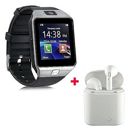 Generic DZ09 Smart Watch Phone With Earphone And Selfie Stick - Black