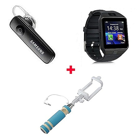 Generic Bundle Of DZ-09 Smart Watch Phone With Free Bluetooth headset and selfie stick - Black