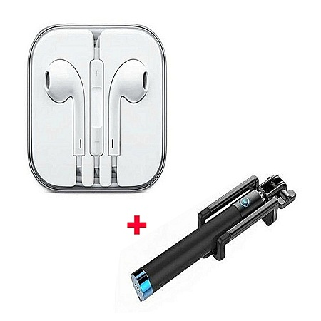 Generic Best Earphones Plus Free Selfie Stick - Black And Blue