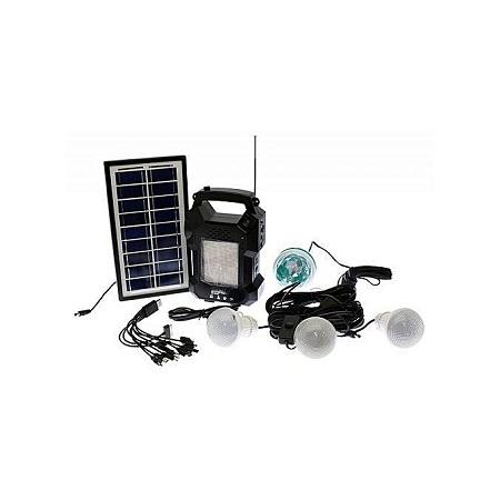 Gdl Solar Lighting System With MP3 Player,FM Radio GD8050– Black