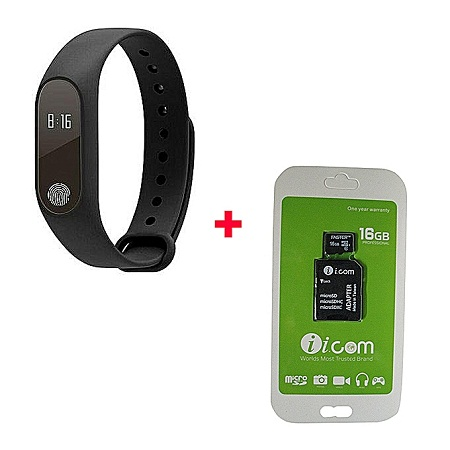 M2 New Smart Health Wrist Bracelet Heart Rate Monitor with Free 16gb Memorycard-Black