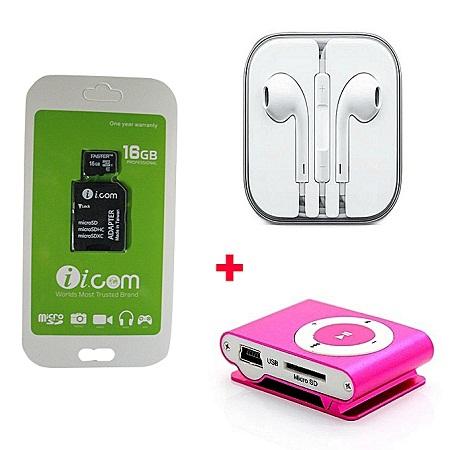 Icom 16GB Icom memory card free Mp3 player and earphones - Black