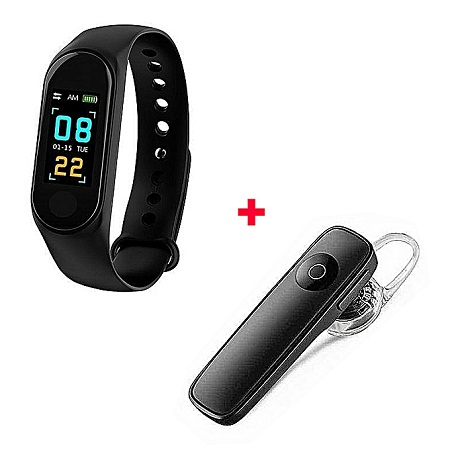 Generic M3 Smart Bracelet Heart Rate Monitor,Sports Pedometer With free Bluetooth