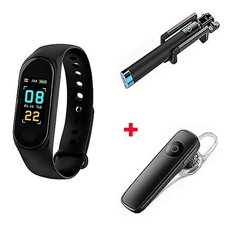 Generic M3 Smart Bracelet Heart Rate Monitor,Sports Pedometer with free bluetooth and selfie Stick