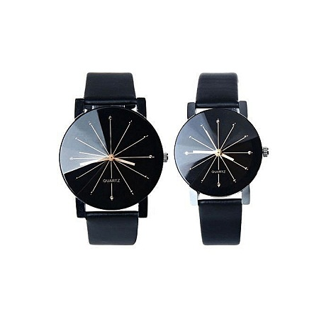 Generic couple Quartz Dial Clock Leather Wrist Watch Black
