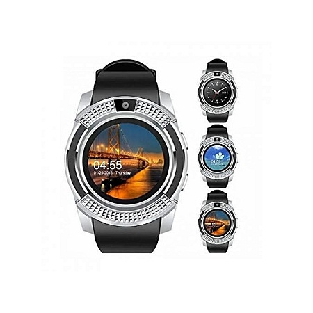Generic S006 Touch Screen Sports Round Screen Smart Phone Watch - Silver Black