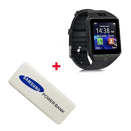 Smart Watch DZ09 Smart Watch Phone for Android and Apple With Free Power Bank 5600mAh - Black