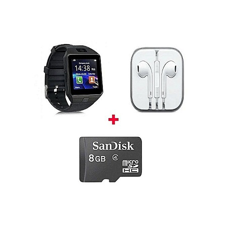 Generic Smart Watch Phone With Free 8gb memory card And Earphone - Black