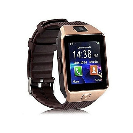 Generic DZ09 Smart Watch Phone for Android and Apple - Gold Brown