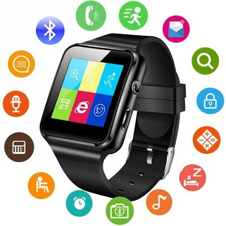 X6 Smartwatch-BT,Sim & Memory Card Slot- Black