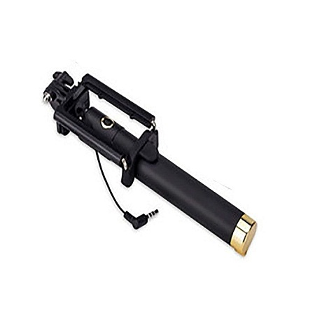 Generic Foldable Smart Shooting Selfie Stick - Black & gold