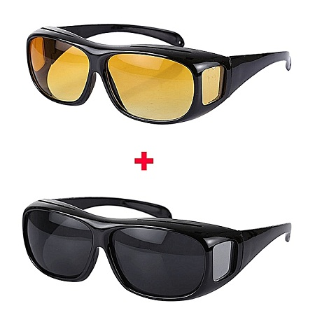 Generic HD Polarized Day And Night Vision Driving Glasses- Black And Yellow