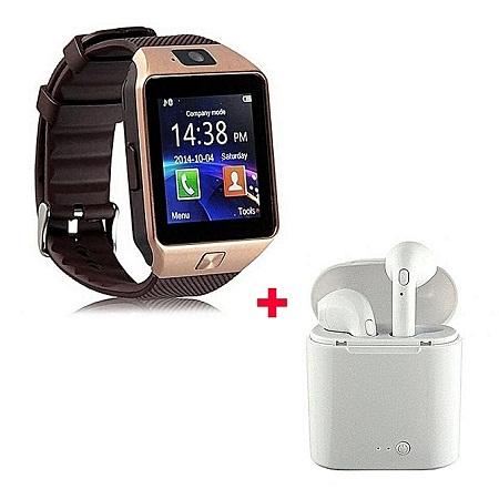 Generic Smart Watch DZO9 Smartwatch Plus Free Wireless Earphones- Gold