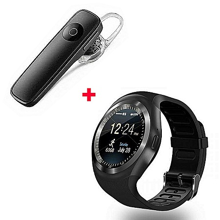 Generic Y1 Smart Phone Watch With Free Bluetooth - Black