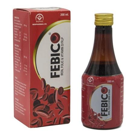 Bio Pharma FEBICO Iron, Folic & Vitamin Syrup Blood Builder - 200ml - Red