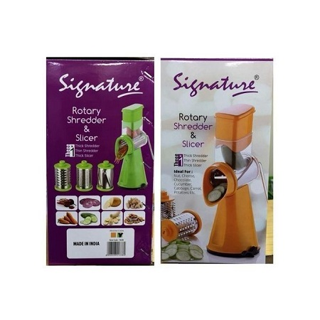 Signature Manual Vegetable Rotary Cutter, Grater, Grinder, Shredder & Slicer