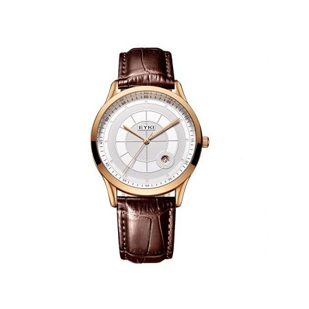 Eyki Gold Bezel Brown Straps Elegant Watch E1070L – Gold Brown