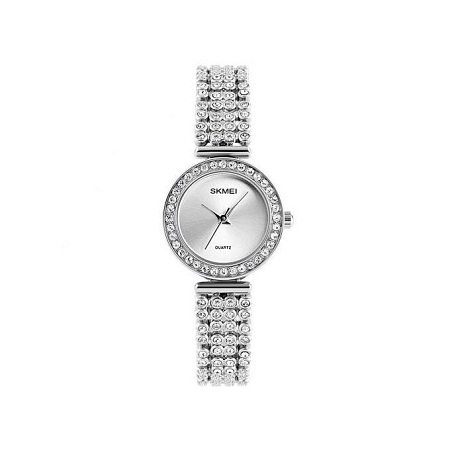 Skmei Women Fashion Luxury Rhinestone Dress Watch 1224 - Silver