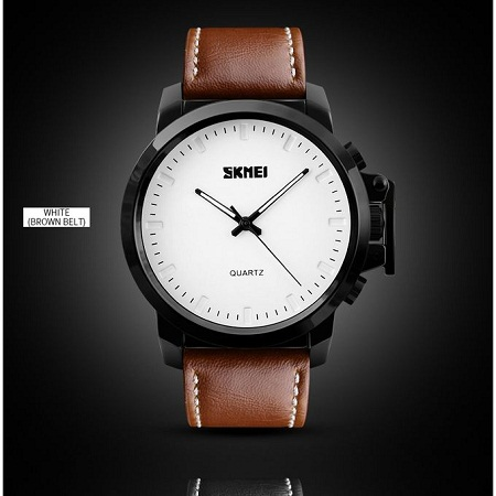 Skmei Mens Luxury Military Casual Leather Watch 1208 - Brown
