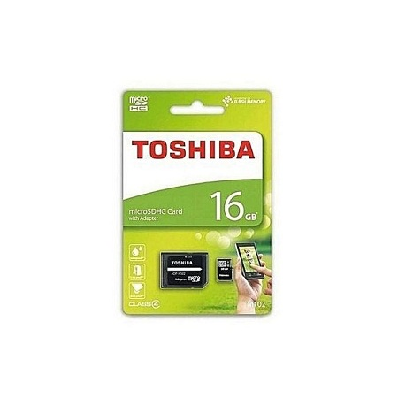 Toshiba MicroSD HC Memory Card with SD Adapter - 16GB - Black