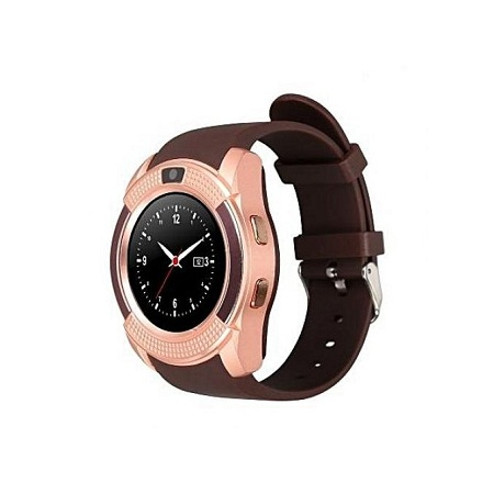 V80 Touch Screen Smart Watch Phone with SIM Slot - Gold Brown