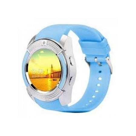 V8 Touch Screen Sports Round Screen Smart Phone Watch - Blue