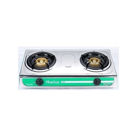 Pine Gas Stove Double Burner - Silver + Hints of Green