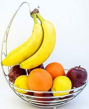 Classy Stainless Steel Fruit Basket Rack silver 1pc