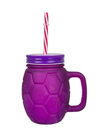 Mason Jar With Handle, Cover & Reusable Straw purple 500ml