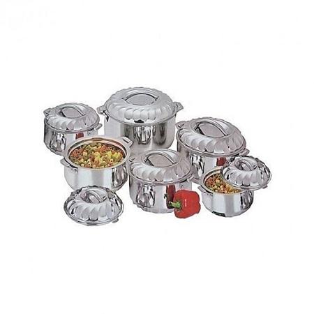 New 6 Piece Stainless Steel Food Server Hot Pots Set Casserole -Silver