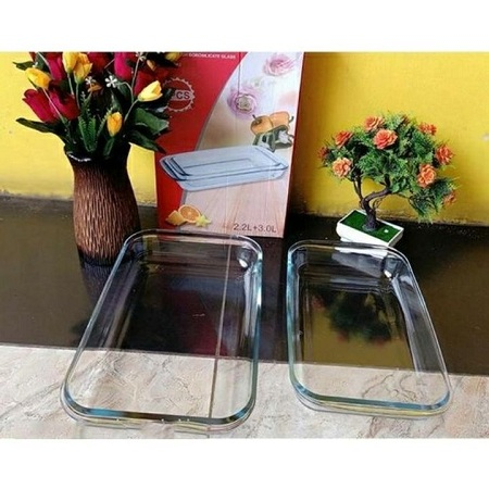 Signature Heat-resistant Microwave Safe Glass Bake Pan crystal 2 pcs