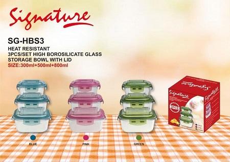 Signature Safe Glass Casserole Fridge storage Bowls blue 3pcs