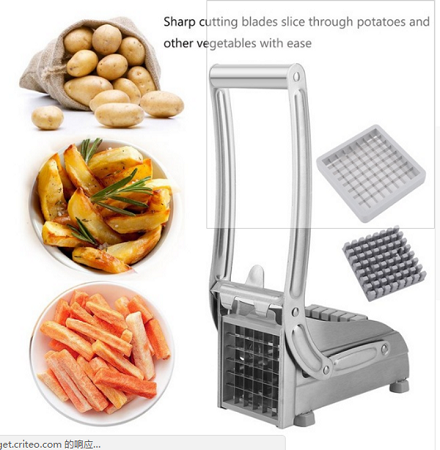 Stainless Steel Home Kitchen Potato Chipper French Fries Slicer Chips Cutter silver