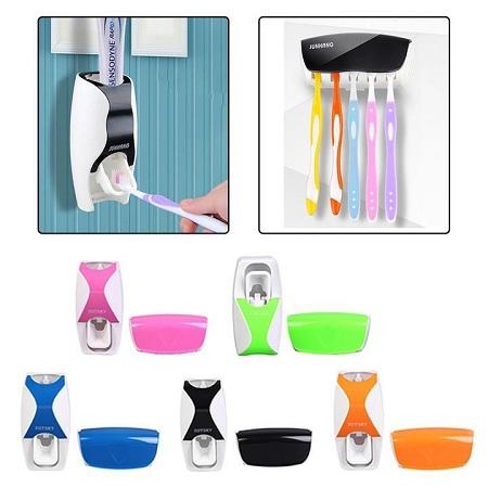 Toothpaste Dispenser & Toothbrush Holder Set Random one size