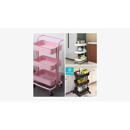 Signature 3-Tier Metallic Movable Trolley