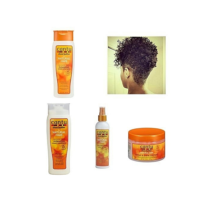 CANTU Cleansing cream Shampoo, Hydrating creamConditioner, Coconut oil shine & hold Mist, Define&shine Custard.(Combo Kit) -1437g