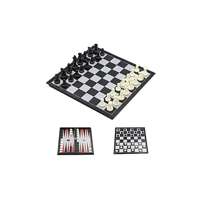 3-in-1 Travel Chess Game Set- Draughts/Checkers, Chess & Backgammon
