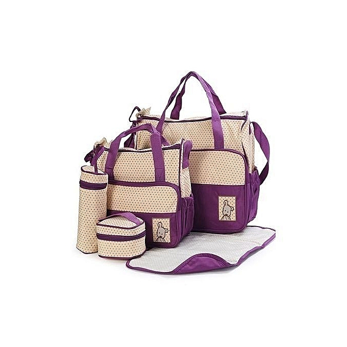 Bear Club 5piece Diaper Bag,Waterproof Nappy Bag For Travel, Large Capacity and Stylish-Purple