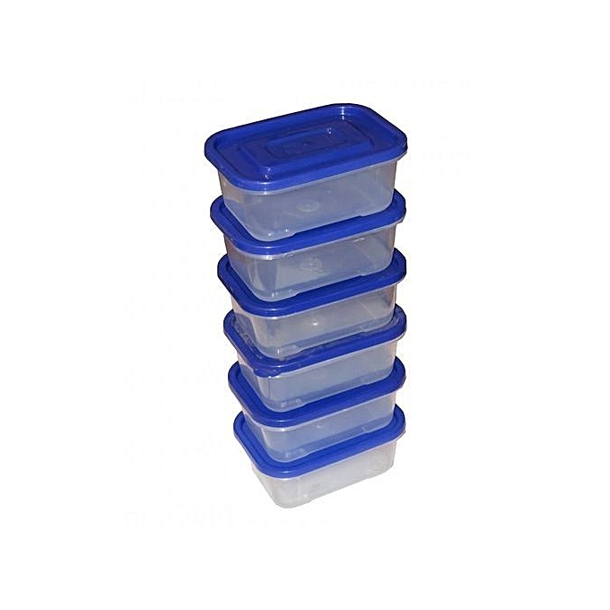 Set of 6 Clear Plastic Food Storage Containers 400ml - Multicolored