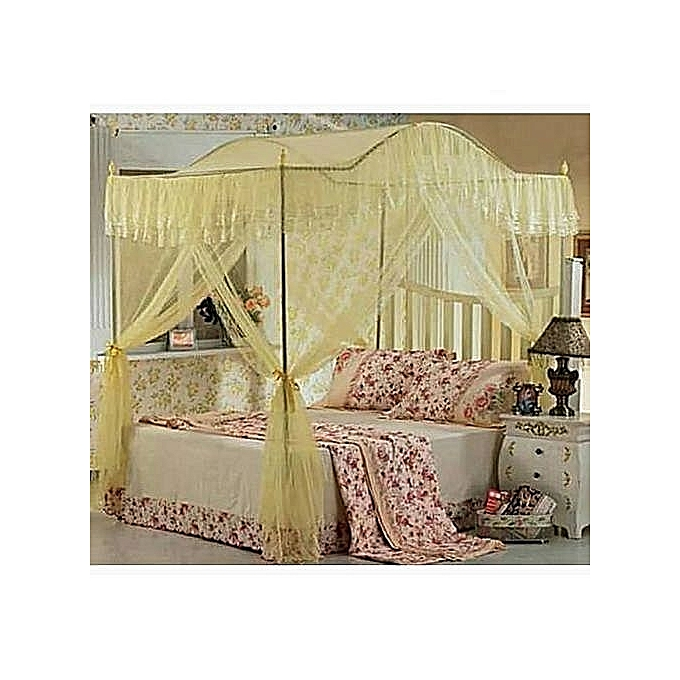 Beautiful curved mosquito net with metallic stand 5*6-cream