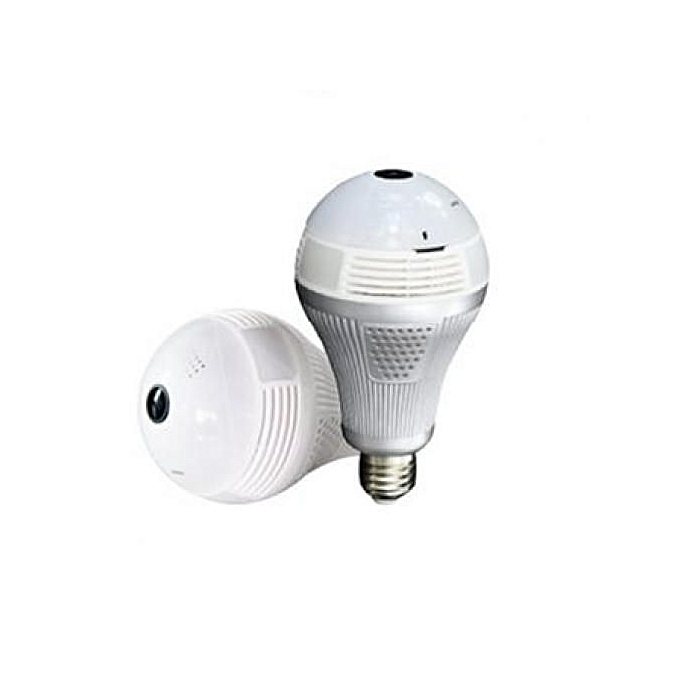 Wireless Wi-Fi Light Bulb Nanny Camera IP 360 Degrees Panoramic Lens - White